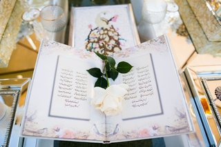 white-rose-on-book-with-flower-print-border-and-farsi-language-script-on-sofreh-table-persian