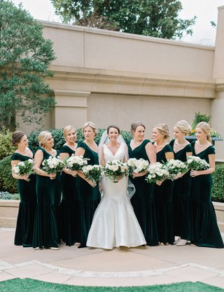bridesmaids-in-cap-sleeve-v-neck-velvet-trumpet-mermaid-bridesmaid-dresses-bride-in-sareh-nouri