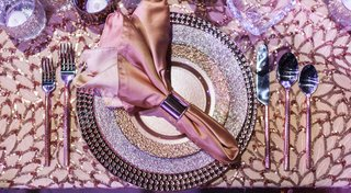 purple-metallic-tablescape-details-plates-silverware-linen-copper-wedding-styled-shoot-sparkly-girly