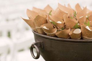 wedding-ceremony-outdoor-vineyard-kraft-paper-cone-filled-with-white-rose-petals