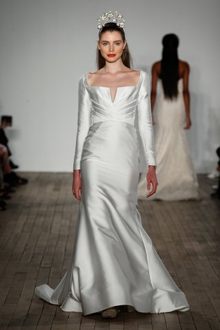 anne-barge-fall-2019-wedding-dress-windsor-long-sleeve-notch-square-neck-draped-pleated-bridal-gown
