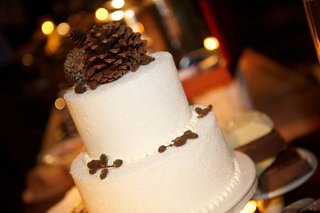 white-wedding-cake-with-snow-sprinkles-and-pinecone-cake-topper