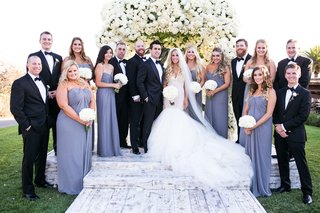 bride-in-galia-lahav-mermaid-wedding-dress-with-groom-in-tuxedo-bridesmaids-in-periwinkle-grey