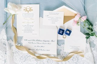 blue-gold-wedding-invitation-suite-engagement-rings-bands-flowers-southern-wedding-sweet-design