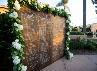 wedding-reception-wood-seating-chart-sign-white-calligraphy-greenery-white-hydrangea-flowers