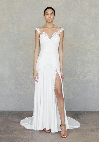 angel-romantique-by-claire-pettibone-spring-2019-lace-bodice-side-slit-crepe-skirt-lace-appliques
