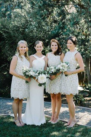 bride-bridesmaids-shades-of-white-bouquets-greenery-flowers-halter-dress-suzanne-neville-short