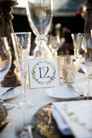 wedding-reception-table-number-gold-border-black-calligraphy-orange-and-greenery-motif-mercury-glass