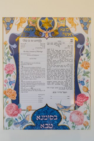 jewish-wedding-contract-ketubah-hand-painted-pink-peony-flowers-and-blue-bird-design