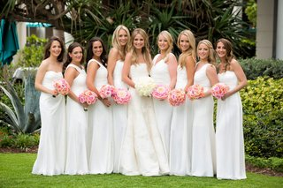 bride-in-strapless-vera-wang-wedding-dress-bridesmaids-in-long-mismatched-white-monique-lhuillier