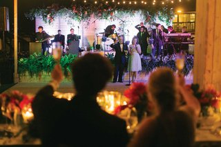 back-of-bride-and-groom-cheersing-champagne-toasting-parents-on-stage-wedding-toast-photo