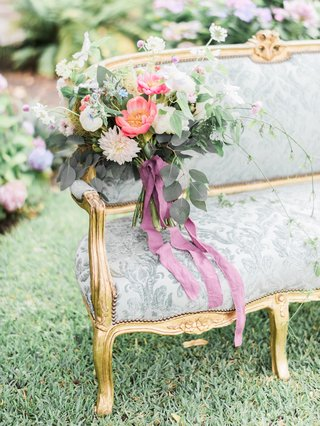 bohemian-bouquet-on-victorian-antique-settee-styled-wedding-shoot