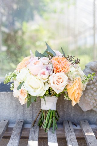 wedding-bouquet-for-rustic-chic-wedding-white-pink-purple-orange-peach-rose-varieties-greenery