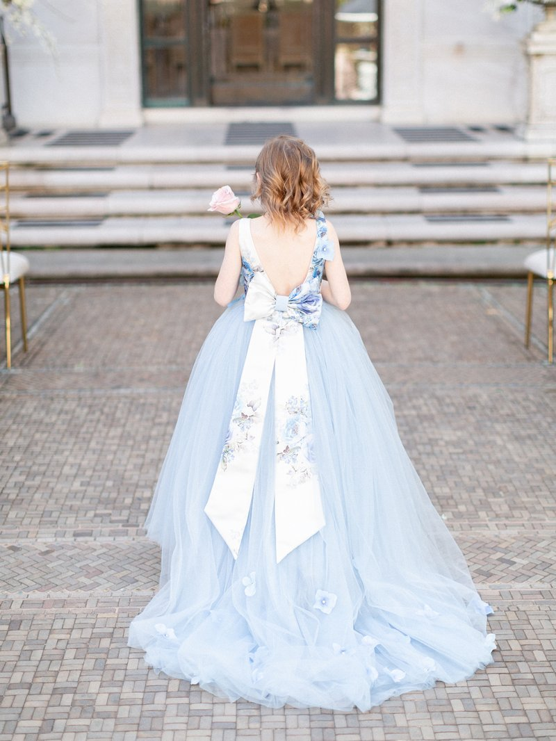 Blue Flower Girls Dress with Sash