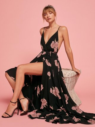 reformation-bridesmaid-dress-black-with-blush-flowers-callalily-by-gweneviere-high-slit-v-neckline