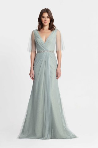 monique-lhuillier-bridesmaids-spring-2017-seafoam-light-blue-green-v-neck-bridesmaid-dress-sheer