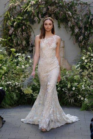 monique-lhuillier-spring-2017-indigo-wedding-dress-sheath-illusion-flower-embroidery