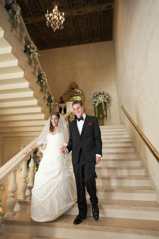 bride-in-a-romona-keveza-dress-and-veil-with-groom-in-black-tuxedo-at-the-plaza-hotel