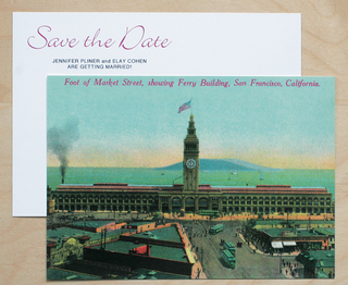 a-vintage-postcard-of-san-franciscos-ferry-building-used-for-save-the-date