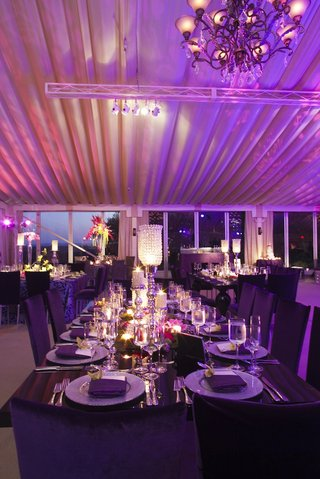 long-rectangular-table-at-purple-wedding-with-crystal-candlestick
