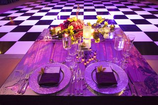 mirror-tabletop-in-front-of-checkered-wedding-dance-floor