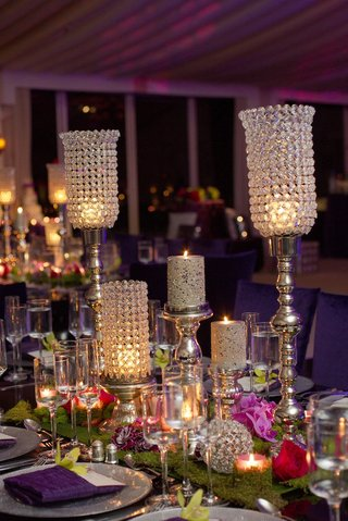 moss-centerpiece-with-crystal-bling-candleholders-and-flowers