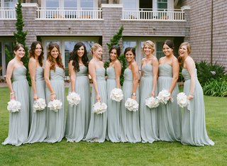 seafoam-blue-green-gowns-and-white-bouquets
