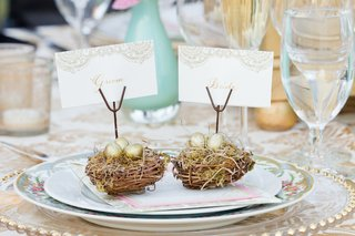 outdoor-wedding-reception-table-with-small-nests-golden-eggs-holding-bride-groom-placecards