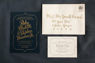wedding-invitation-suite-in-dark-blue-paper-and-gold-script-calligraphy-by-kelly-draws