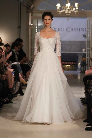 oleg-cassini-spring-2016-a-line-wedding-dress-with-three-quarter-sleeves