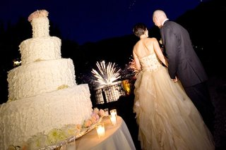 bride-and-groom-looking-at-lakeside-fireworks