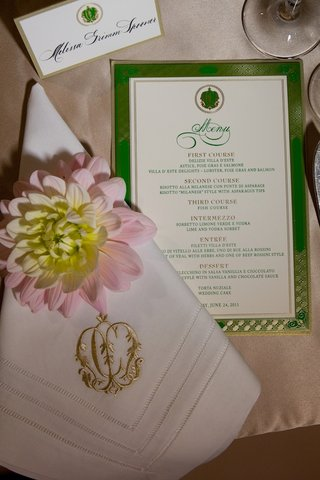gold-monogrammed-napkin-and-textured-menu-card