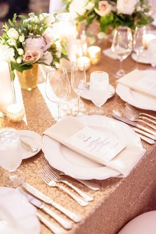 wedding-reception-amy-crawford-and-gerrit-cole-wedding-rose-gold-sequin-linen-white-china-napkin