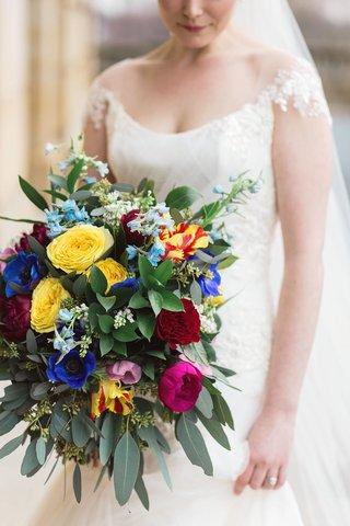 very-colorful-bouquet-greenery-dayton-ohio-wedding-bride-unique-tropical-ines-di-santo-wedding-dress