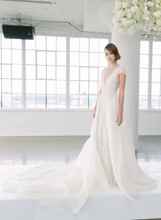 marchesa-bridal-fall-2018-collection-wedding-dress-cap-sleeve-gown-with-over-skirt-detachable-v-neck