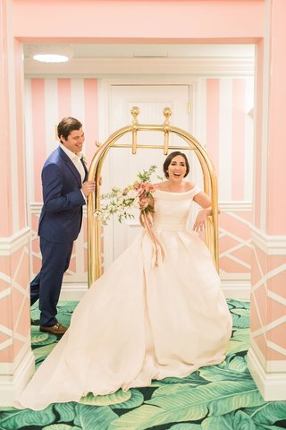 the-confused-millennial-wedding-shoot-off-shoulder-blush-gown-navy-groom-suite-the-colony-palm-beach