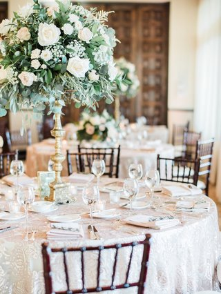 wedding-decor-ballroom-reception-round-table-tall-greenery-white-rose-centerpiece-gold-riser