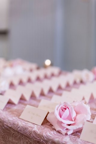 wedding-reception-ballroom-entrance-long-table-textured-pink-linens-and-rose-with-tent-escort-cards