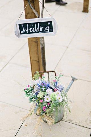 wedding-sign-diy-chalkboard-watering-can-wildflowers-flowers-british-english-garden-wedding