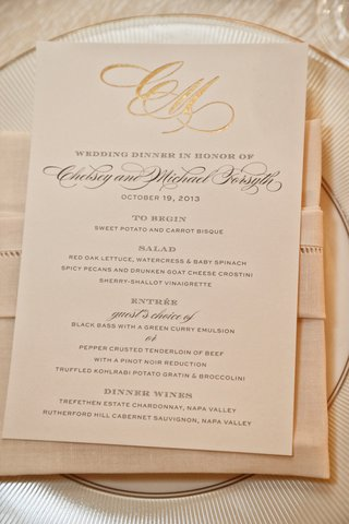 wedding-reception-menu-with-couples-golden-monogram-on-linen-napkin-white-china-plate-with-gold