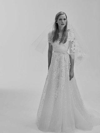black-and-white-photo-of-elie-saab-bridal-spring-2017-short-sleeve-wedding-dress-with-round-neck