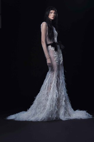 vera-wang-bride-fall-2016-sheer-wedding-dress-with-black-bow-and-ostrich-feather-skirt