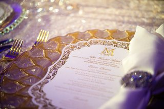 white-menu-with-lasercut-rose-motif-and-gold-monogram-for-tracy-morgan-megan-wollover-wedding