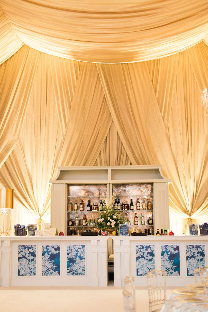 Bar with Blue & White Floral Design