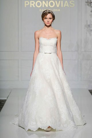 pronovias-2016-strapless-a-line-wedding-dress-in-lace-with-bow-belt