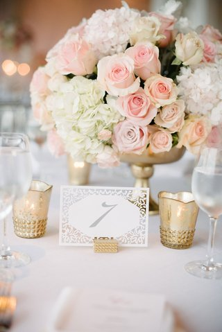 wedding-reception-low-centerpiece-white-hydrangea-pink-rose-gold-vase-gold-candle-votive-white-lace