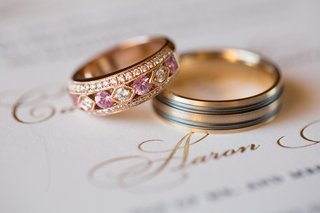 nontraditional-wedding-ring-with-rose-gold-diamonds-and-pink-sapphires-two-toned-mens-ring