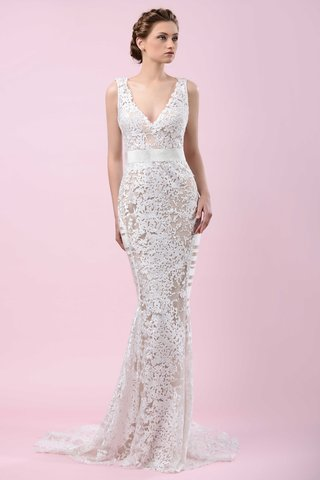 gemy-maalouf-2016-lace-v-neck-wedding-dress-with-ribbon-belt