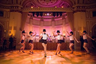 wedding-reception-entertainment-option-six-dancers-in-white-shirts-black-bow-ties-and-sequin-shorts