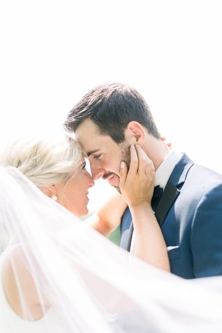 romantic-wedding-portrait-ideas-bride-and-groom-touching-foreheads-and-staring-at-each-others-eyes